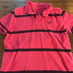 Dark Pink and Navy Men's Medium Stripe Polo style